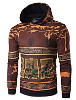 cheap -Men's Petite Daily Vintage Hoodie Print Hooded Hoodies Micro-elastic Polyester Long Sleeve Fall