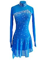 cheap -Figure Skating Dress Women's Girls' Ice Skating Dress Sky Blue Spandex Stretch Yarn Stretchy Skating Wear Sequin Long Sleeves Figure