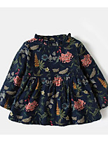 cheap -Girl's Daily Solid Floral Dress, Cotton Bamboo Fiber Spandex Spring Long Sleeves Vintage Blue Khaki