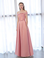 cheap -A-Line Off-the-shoulder Floor Length Satin Chiffon Formal Evening Dress with Bow(s) Embroidery by Embroidered Bridal