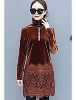 abordables -Mujer Vintage Diario Todas las Temporadas Camiseta,Cuello Alto Un Color Mangas largas Poliéster