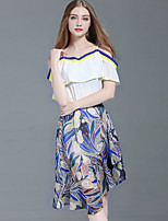 cheap -Women's Daily Work Sexy All Seasons Blouse Skirt Suits,Geometric Boat Neck Short Sleeve Polyester Micro-elastic