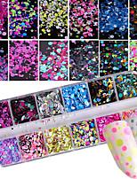 economico -1set Accessori Elegante Di tendenza Con lustrini Glitter per unghie Menta Modelli fantasia