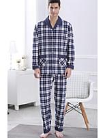 abordables -Costumes Pyjamas Homme,Couleur Pleine Epais Polyester Bleu