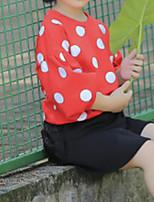 Недорогие -Девочки Набор одежды Повседневные Хлопок Горошек Весна Осень Длинные рукава Оранжевый Красный