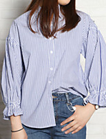 cheap -Women's Daily Cute Shirt,Solid Round Neck Long Sleeve Cotton Acrylic