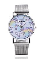 baratos -Homens Mulheres Relógio Casual Chinês Quartzo Relógio Casual Aço Inoxidável Banda Casual Desenho Prata