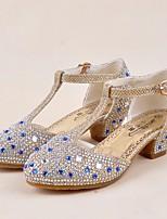 Недорогие -Девочки обувь Блестки Весна Лето Крошечные Каблуки для подростков Обувь на каблуках Кристаллы для Повседневные Золотой Серебряный Лиловый