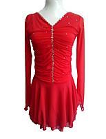 cheap -Figure Skating Dress Women's Girls' Ice Skating Dress Red Spandex Stretchy Skating Wear Sequin Long Sleeves Ice Skating