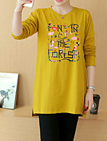 cheap -Women's Casual/Daily Cute T-shirt,Solid Round Neck Long Sleeves Cotton