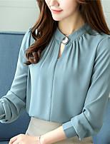 Недорогие -Для женщин Повседневные Весна Осень Блуза Круглый вырез,На каждый день Однотонный Длинные рукава,Полиэстер,Плотная