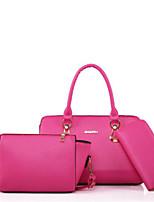 cheap -Women Bags PU Polyester Bag Set 3 Pcs Purse Set Zipper for Casual All Season Sky Blue Fuchsia Beige Blushing Pink Black