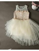 cheap -Girl's Daily Solid Dress,Polyester Spring Summer Sleeveless Princess Khaki