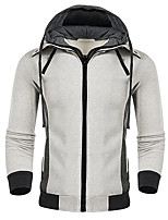 cheap -Men's Going out Hoodie Solid Hooded Micro-elastic Polyester Long Sleeve Winter Fall