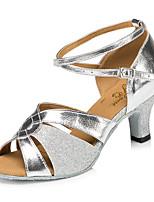 "cheap -Women's Latin Leatherette Sneaker Training Trim Stiletto Heel Silver Gold 2"" - 2 3/4"" Customizable"