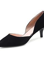 Недорогие -Для женщин Обувь Нубук Кожа Весна Осень Удобная обувь Туфли лодочки Обувь на каблуках Высокий каблук для Повседневные Черный Серый