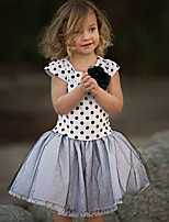 cheap -Girl's Daily Holiday Polka Dot Dress,Cotton Summer Short Sleeves Cute Casual Gray Black