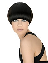 cheap -Women's Short Straight Bob Hair Black/Purple Mushroom head Wigs Full Wig