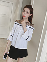 cheap -Women's Casual/Daily Street chic Sophisticated Shirt,Color Block Round Neck Long Sleeves Cotton