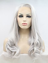 cheap -Sylvia Fashion Long Silver Synthetic Lace front Wig Wavy Natural Hairlines Party Costume Wig