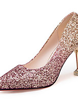 cheap -Women's Shoes PU Spring Fall Comfort Heels Stiletto Heel for Outdoor Gold Silver Fuchsia