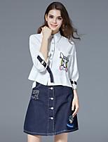 economico -T-shirt Vestiti Completi abbigliamento Da donna Quotidiano Per uscire Romantico Moda città Estate,Animal Colletto Cotone Elastene Jeans