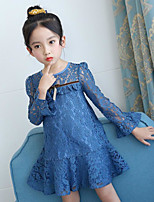 cheap -Girl's Daily Going out Solid Floral Flower/Floral Dress,Cotton Polyester Spring Summer Long Sleeves Simple Cute Active Blushing Pink Blue