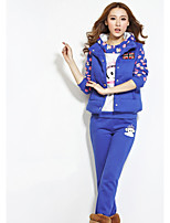 Women's Sports Casual Fall Hoodie Pant Suits,Print Hooded Long Sleeve Polyester