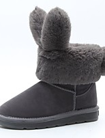 cheap -Women's Shoes PU Winter Spring Comfort Snow Boots Boots Flat Heel Round Toe for Casual Gray Black