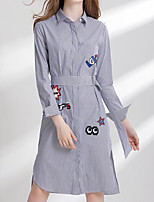 cheap -Women's Going out Simple Shirt Dress,Print Shirt Collar Midi Long Sleeve Cotton Spring Fall Mid Rise Micro-elastic Opaque