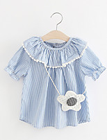 cheap -Baby Girl's Daily Dress, Polyester Simple Short Sleeves Blushing Pink Light Blue