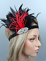 cheap -The Great Gatsby 1920s Costume Unisex Headpiece Flapper Headband Black Vintage Cosplay Feather Sleeveless