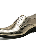 cheap -Men's Shoes Patent Leather Spring Fall Comfort Oxfords for Casual Party & Evening Gold Black