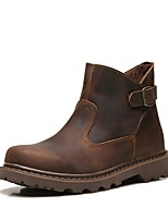 cheap -Men's Shoes Real Leather Cowhide Nappa Leather Spring Fall Fashion Boots Bootie Combat Boots Boots for Casual Office & Career Brown