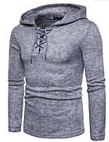 economico -Felpa con cappuccio Per uomo Quotidiano A pois Con cappuccio Media elasticità Cotone Maniche lunghe Inverno