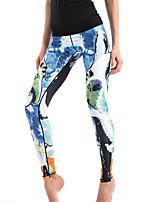 preiswerte -Damen Stilvoll Mittel Polyester Druck Genähte Spitzen Legging,Blau