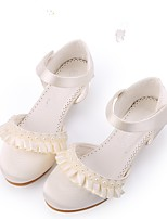 cheap -Girls' Shoes Lace Satin Spring Summer Tiny Heels for Teens Heels Applique Imitation Pearl Magic Tape for Wedding Party & Evening Light