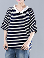 cheap -Women's Daily Casual Summer T-shirt,Striped Shirt Collar ½ Length Sleeve Cotton