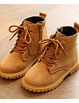cheap -Boys' Shoes Nubuck leather Winter Fall Comfort Combat Boots Boots Booties/Ankle Boots for Casual Khaki Peach Black
