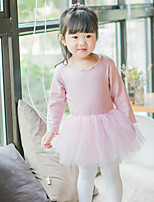 cheap -Baby Girls' Casual/Daily Solid One-Pieces, Cotton Spring Integrated Style Long Sleeves White Blushing Pink Gray
