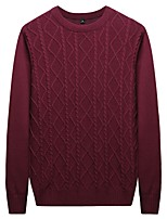 cheap -Men's Pullover - Solid Colored Round Neck