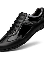 cheap -Men's Shoes Patent Leather Spring Fall Comfort Oxfords for Casual Black/Red Black