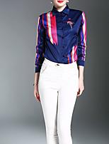 Недорогие -Для женщин Повседневные Осень Рубашка Рубашечный воротник,На каждый день С принтом Длинные рукава,Полиэстер,Плотная