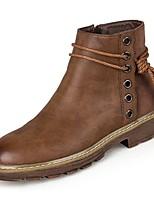 baratos -Sapatos Couro Ecológico Primavera Botas da Moda Botas Salto Baixo Ponta Redonda Botas Cano Médio Tachas para Casual Preto Marron