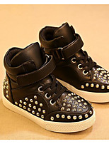 cheap -Girls' Shoes Leatherette Spring Fall Comfort Sneakers for Casual Black White Gold