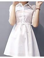 cheap -Women's Daily Casual Shirt,Solid Shirt Collar ¾ Sleeve Cotton