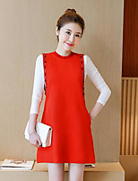 cheap -Women's Holiday Simple Spring Dress Suits,Color Block Crew Neck Long Sleeve Cotton