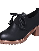 cheap -Women's Shoes PU Spring Fall Comfort Boots Block Heel Round Toe Booties/Ankle Boots for Casual Light Brown Black