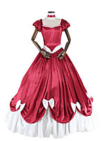 abordables -Rococo Victorien Costume Femme Adulte Une Pièce Robes Rouge/Blanc Vintage Cosplay Taffetas Manches Courtes Manche Gigot