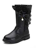 cheap -Girls' Shoes Leatherette Spring Fall Comfort Boots Bowknot Zipper for Outdoor Dress Wine Pink Red Black